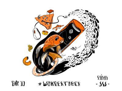 The Family of things 2d design 2d art drops water cheese things vector golden fish fish illustration digital drawing inking ink inktober inktober2019