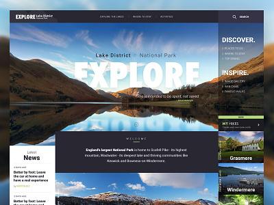 Explore | Lake District redesign web design visual ux ui tourism lake district