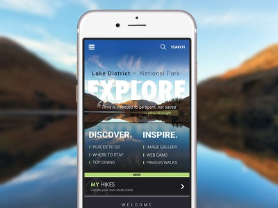 Explore | Lake District | Mobile responsive web visual design ui mobile