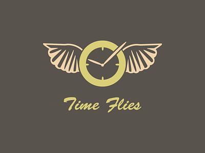 Time Flies logo clock time design