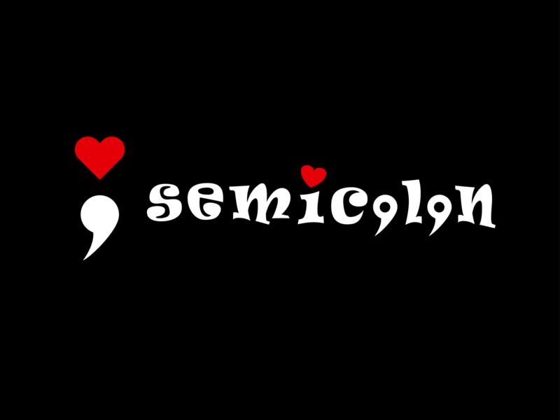 Semicolon + Heart programmer programming red black heart semicolon design logo illustration