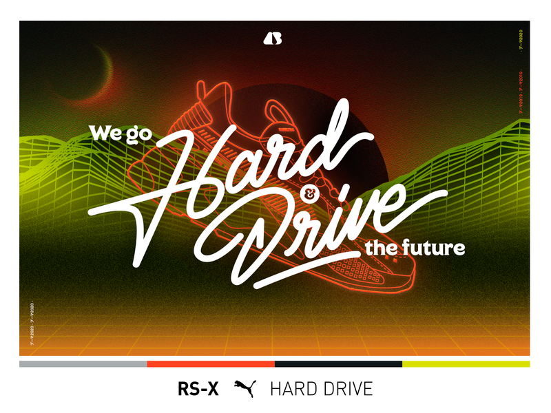 Go Hard & Drive The Future vector typography illustration design chile type design retro type shoes