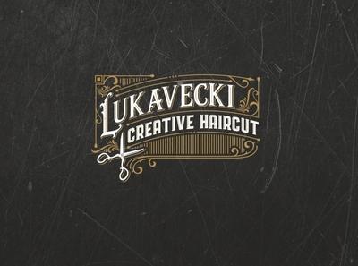 Lukavecki Creative Haircut logo haircuts vintage font vintage logo vintage haircut hairstyle hairdresser