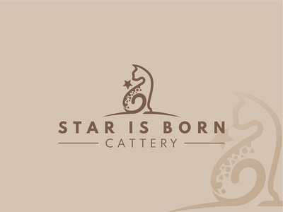 Star is born - Bengal Cat cattery logo design vector minimal croatia brand logo cat logo design illustraion illustrator cats cattery cat