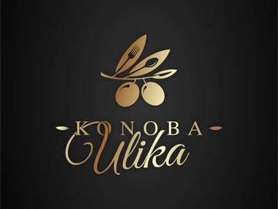"""Konoba Ulika"" - ""Tavern Olive"" logo tavern minimal vector logo design brand logo spoon knife fork ulika konoba adriatic mediterranean food restaurant olives olive"