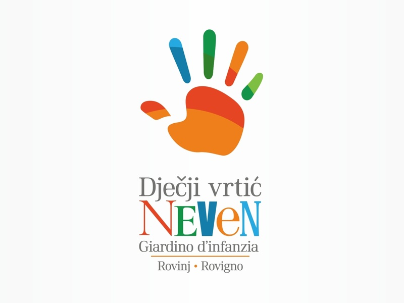 Logo for kindergarten infant giardino croatia rovinj logotype design logo design brand logo hand palm kids kindergarten