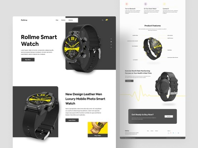 Product Landing Concept watch dribbble creative clean best shot homepage 2020 trend dribbble best shot popular design popular shot smartwatch product design product landing page minimal design uiux landing page product