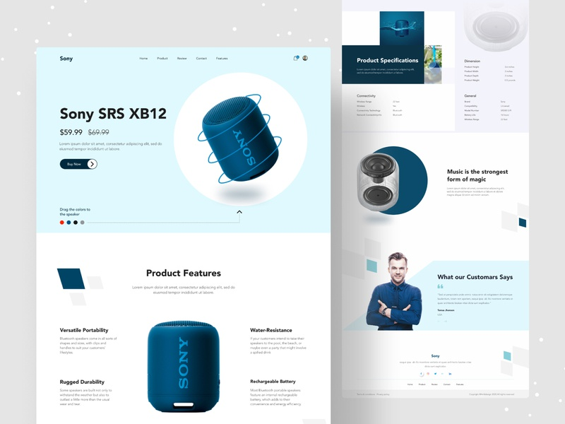 Product Landing Concept design system designs bluetooth speaker website web design web uiux uidesign ui popular design popular minimalist minimal landing page landingpage homepage dribbble best shot creative clean 2020 trend