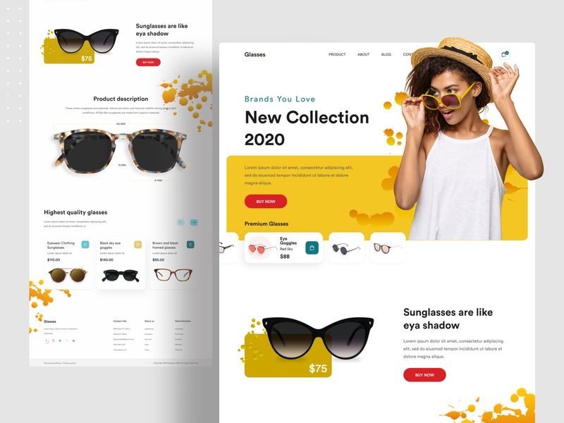 Product Landing Concept sunglasses website web design web uiux uidesign ui popular design popular minimalist minimal landing page landingpage homepage dribbble best shot design system designs creative clean 2020 trend
