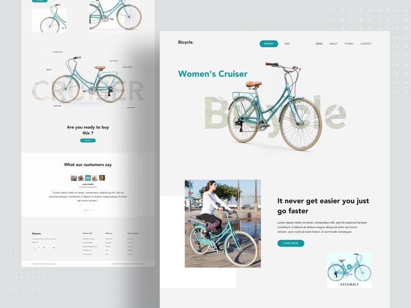 Product Landing Concept bycicle web design webdesign web uiux uidesign ui popular design popular minimalist minimal landing page landingpage homepage dribbble best shot design system designs creative clean 2020 trend