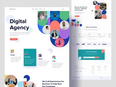 Creative Agency Landing Concept agency website web design web ux design uiux uidesign ui popular design popular minimalist minimal landing page dribbble best shot digital marketing digital agency design system clean creative agency website 2020 trend