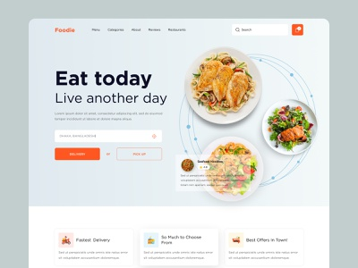 Online Food Delivery Web UI Exploration ( Making ) food delivery restaurant online shop food creative popular designer best top dribbble best shot ui design home page landing page website concept websites website design web design webdesign website web