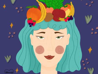 Mental health girl power vegetables motivational mental health awareness mental health love yourself procreate illustration digital illustration digital art