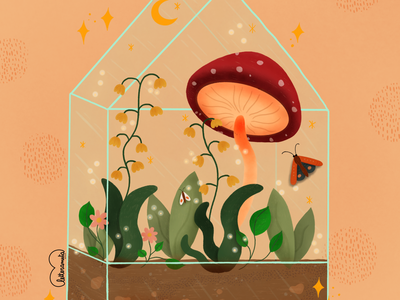 Cute terrarium magical cute illustration plants lovely font nature terrarium love procreate illustration digital illustration digital art