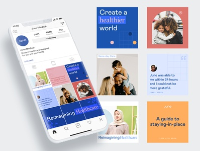 Juno_Social Media brand design branding healthcare instagram template instagram social social media