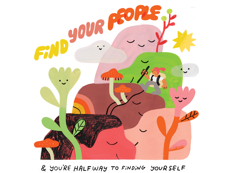 FIND YOURSELF lettering outdoors floral hike hiking self actualization self discovery find yourself illustration creative pep talk