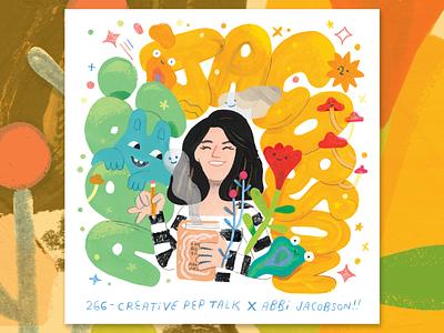 Make The Space with Abbi Jacobson podcast art creative pep talk bingo bronson life floral photoshop goauche portrait illustration andy j pizza women comedy broad city abbi jacobson