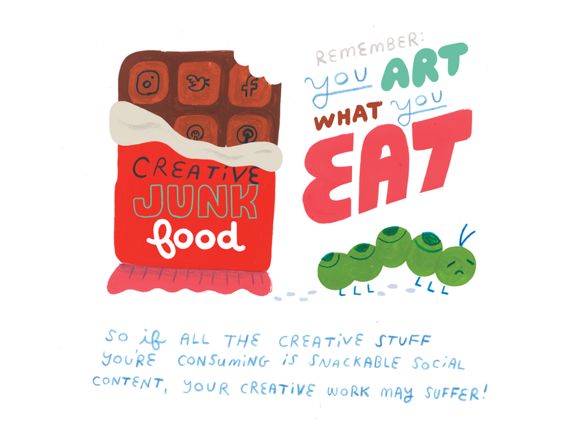 Creative Junk Food rebirth new you creative inspiration metamorphosis caterpillar comic lettering podcast art podcast illustration creative pep talk