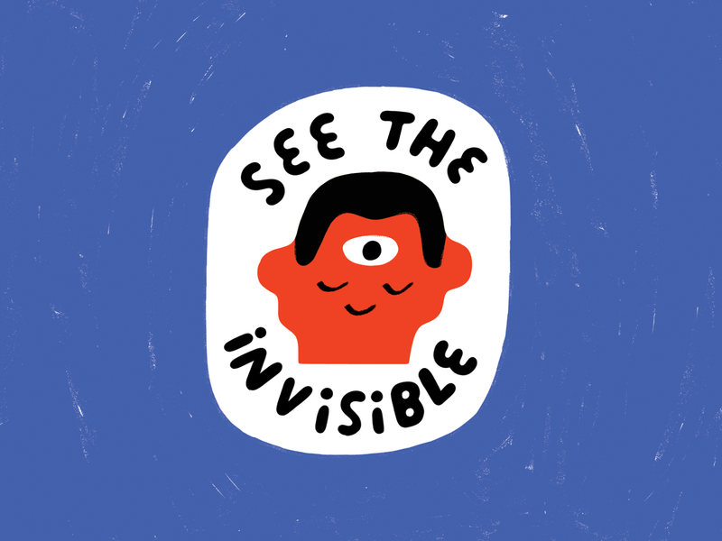 CLOSE YOUR EYES AND SEE! spirituality spiritual philosophical cosmic third eye badge patch sticker lettering johnny pemberton podcast podcast art creative pep talk