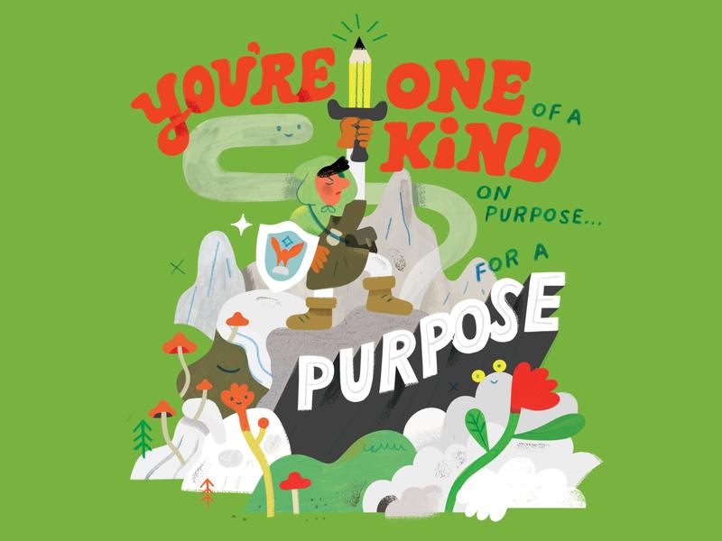 Find Your Gift motivation path zelda hero journey adventure sword creative career podcast design lettering illustration creative pep talk