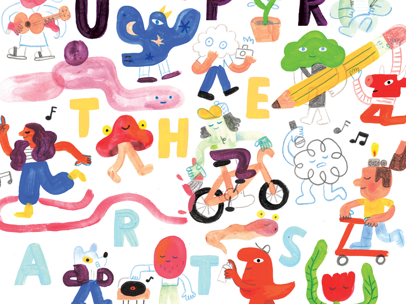 SUPPORT THE ARTS with PATREON andy j pizza creative pep talk community creative lettering painting people illustration crowd people arts patreon