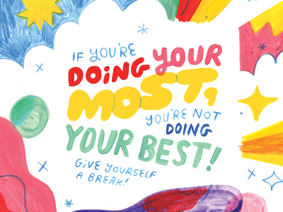 Your Creative Super Self self care motivation quote episode art podcast creative pep talk art painting lettering