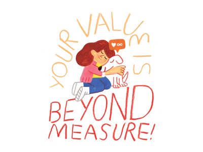 Don't Measure Your Value in Likes podcast art woman creativity creative career podcast design lettering illustration creative pep talk