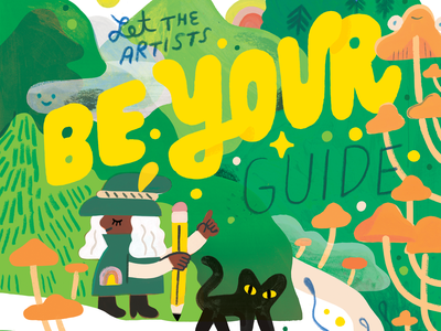 The Artists Are Our Guides cat hero witch hiking hills hike creativity creative career design podcast lettering illustration creative pep talk