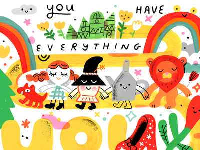 You Have Everything You Need podcast illustration creative pep talk gouache wizard of oz creative career