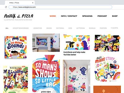 NEW SITE Y'ALL!!!!! web design wix andy j pizza illustration wesbite