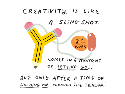 Creativity Slingshot (New Podcast Episode!) pencil creativity slingshot creative career podcast design illustration creative pep talk
