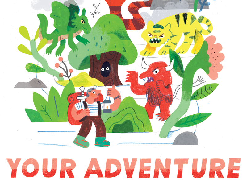 SAY YES TO design illustration podcast podcast art podcast artwork andy j pizza mountain floral paint journey path dragon monster hike adventure creative pep talk