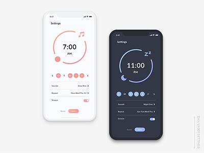 Daily UI#007 Settings app alarm settings mobile daily ui