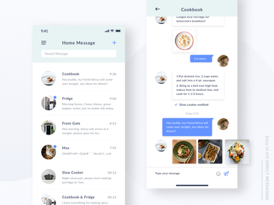 Daily UI#013 Direct Messaging food ai chat instant message direct messaging app mobile daily ui