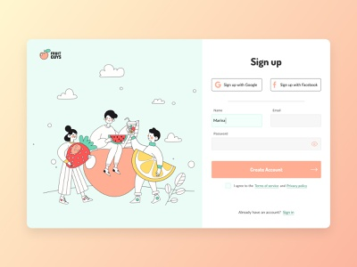 Sign up page signup page signup delivery food fruits web illustration ui flat design daily 100 challenge dailyuichallenge dailyui