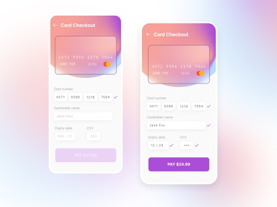 Credit card checkout checkout mobile app ui mesh gradient credit card checkout creditcard mobile daily 100 challenge dailyui