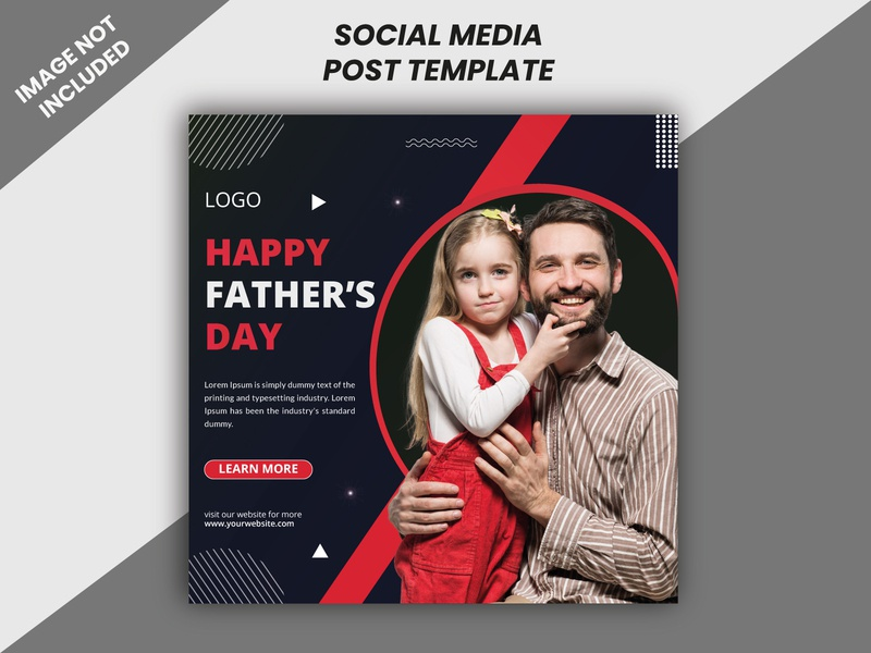 Happy Fathers Day Social Media Banner Post Template red poster leaflet fathers day 2020 creative design unique design fathers day banner design social media social creative flyer corpoarte flyer business flyer design a4 size vector minimal illustrator flyers design design branding