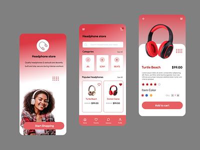 Headphone store app website vector uidesign typography landingpage icon minimal design web ui