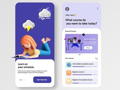E-learning App paradigm online-learning education e-learning elearning branding flat design minimal app ui
