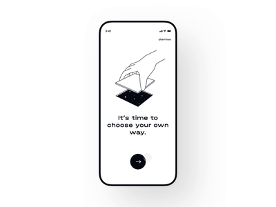 Choose Your Own Way onboarding ui swipe blackandwhite white black transition onboarding design interaction app ux ui interface animation