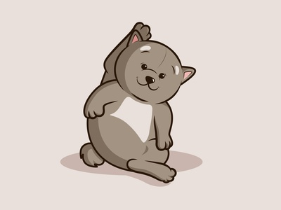 Cute bear sitting and lifting one Leg in pose funny fur grizzly cub doll toy pet teddy logo mascot illustration vector baby cat brown animal cute bear character cartoon