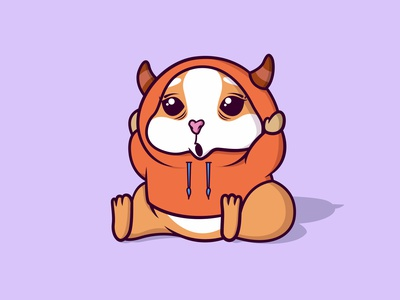 Cute brown hamster sit and using red jacket fauna domestic baby little fur sticker mouse nature small jacket pet marmot rat isolated cute character mascot cartoon animal hamster