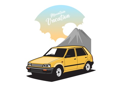 Yellow car parked at sunset and mountain background travel trip suv summer holiday 80s vintage sedan engine motor drive vector auto transportation classic vehicle sunset mountain yellow car