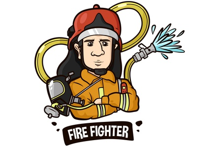 Fire fighter figure using a safety suit and a water hose behind job adult protection rescue figure mascot safety departement uniform suit male fireman fire emergency boy character cartoon firefighter men people