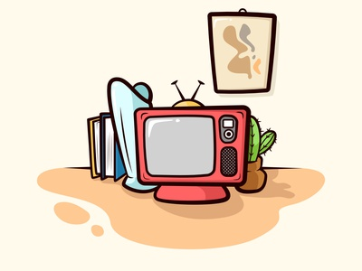 television and bookshelf table with art wall minimalism scandinavian watch visual show streaming record old electronic comunication cinema channel screen live cartoon illustration antenna retro television tv