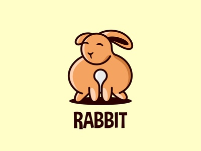 Simple cute orange rabbit for logo isolated bunny icon art graphic simple cute funny little mascot design sign logo animal easter symbol illustration cartoon character rabbit