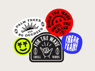 FTW Sticker Set shane harris skull palm tree wave surfing surf typography stickers sticker type badge design badge logo illustration