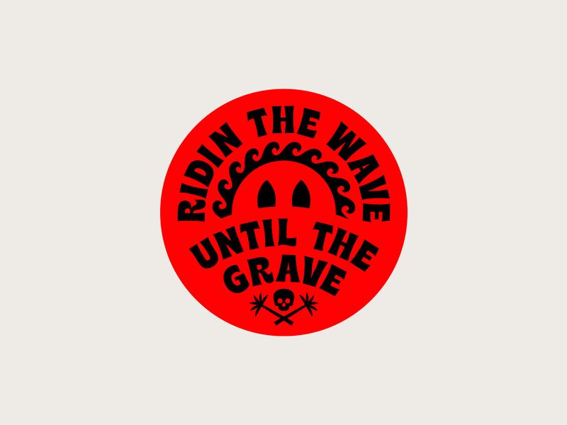 Ridin The Wave wave typography type surfing surf stickers sticker skull palm tree logo illustration badge design badge shane harris