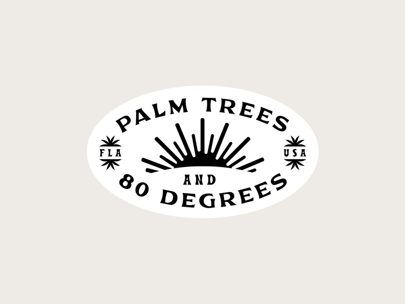 Palm Trees and 80 Degrees ☀️ tropical waves typography type surfing surf stickers sticker palm tree logo badge design badge illustration shane harris