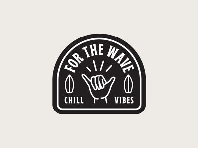 For The Wave B&W Sticker 🤙 chill shaka vibes tropical typography type surfing stickers sticker palm tree logo badge design badge illustration shane harris